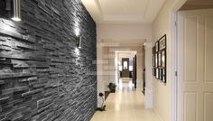 hallway lighting ideas modern 25 Ideal Hallway Walls – Make Your Hallways As Gorgeous As The Rest Of Your Property other Hallway Light Fixtures, Hallway Lighting, Ceiling Lighting, Sconce Lighting, Stone Cladding, Wall Cladding, Black Cladding, Stone Feature Wall, Feature Walls