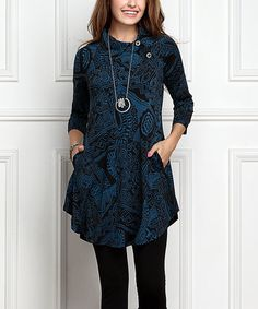 Loving this Black & Blue Abstract Shawl Collar Button Tunic Dress - Plus Too on #zulily! #zulilyfinds