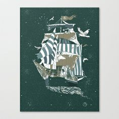 Sail to The Moon Stretched Canvas by Huebucket