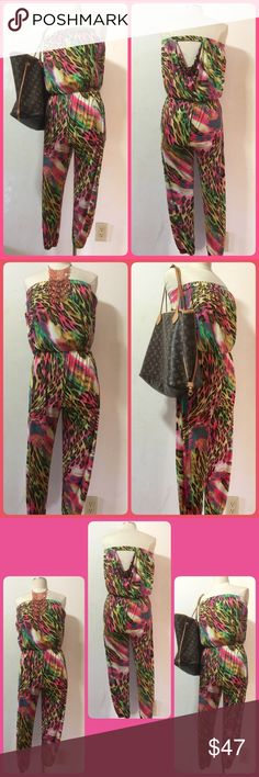 🌺🌺Multicolor Leopard Print Strapless Jumpsuit🌺 Retail at $129. 🌺🏝⛱Be cute and wild in this strapless and fierce jumpsuit. Stretchy, lightweight, strapless jumpsuit features an elasticized bustline, a cinched elastic  waist, an allover leopard or cheetah print, and elasticized ankles for a jogger look. Jumpsuit is finished with no additional closures. ❣️🏝🌺 92% Polyester, 8% Spandex Hand wash cold, hang dry. Do not bleach or iron Made in China Jay Jane Pants Jumpsuits & Rompers