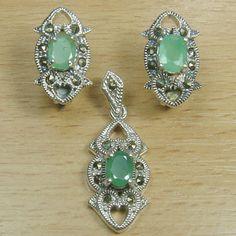 Massjewelry - Oval Cut Genuine Emerald 925 Sterling Silver Solitaire Jewelry Set