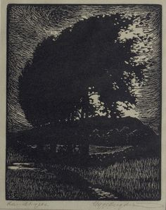Woodcut by Sigge BERGSTROM 1912 by Etchings Plus
