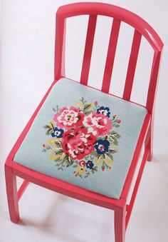 painted chair w/ embroidered cushion