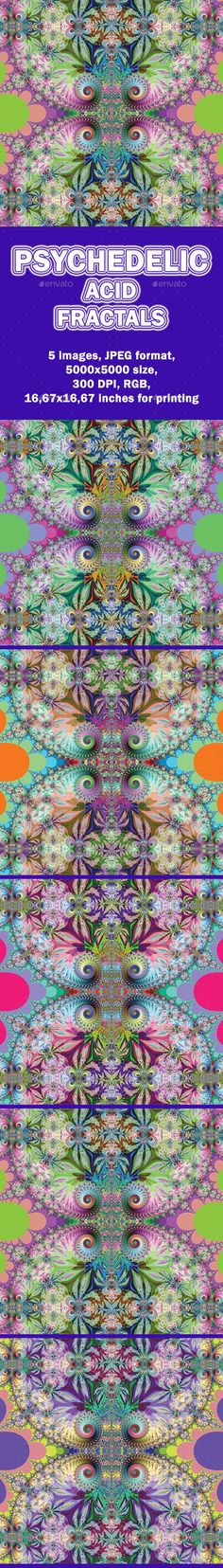 This set contains 5 abstract backgrounds with acid psychedelic fractals. You can use it as backgrounds, prints, covers or anywhere