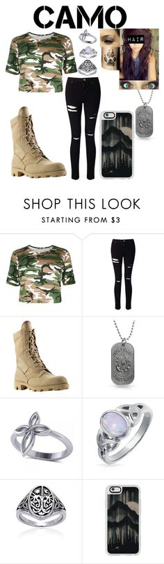 """""""Wolf in camo"""" by whisperwolf22 ❤ liked on Polyvore featuring Miss Selfridge, Bling Jewelry, Allurez, Casetify and camostyle"""