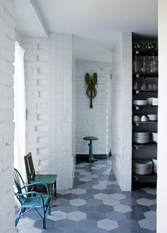 House tour: a former silkworm factory that became a home: Moroccan-style tiles in the kitchen.