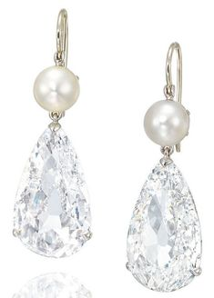A pair of pear-shape diamond and pearl earrings from the Golconda mine in India.  (Estimate: $1.2 million–$1.9 million)