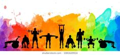 Detailed illustration silhouettes strong rolling people set girl and man sport fitness gym body-building workout power lifting health training dumbbells barbell. Blink Fitness, Fitness Gym, Sport Fitness, Graffiti Murals, Mural Art, Crossfit Wallpaper, Football Player Drawing, Workout Gear For Women, Sports Drawings