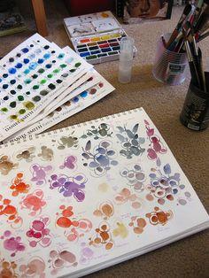 Trying Daniel Smith Watercolour Dot cards