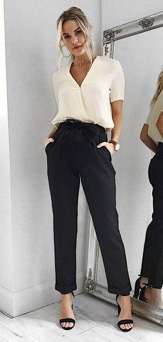 office style addict blouse + pants + heels