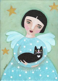 Angel and Cat Original Folk Art Painting...could be cute punch needle pict in one of the girls room