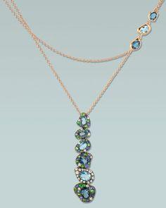 Rodney Rayner 'Via Roma' necklace,  diamonds, sapphires, tsavorite garnets and blue topaz set in rose gold.