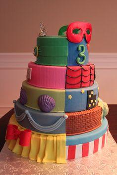 Super Heroes/Princess Birthday Cake