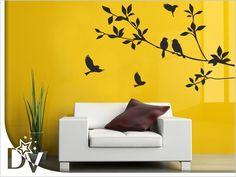 Faág falmatrica sokféle színben rendelhető dekorációs webáruházunkból #madár #faág #fekete #nappali #faldekoráció #faltetoválás #otthon