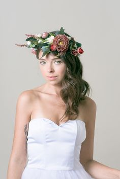 Bridal Flower crown /Flower headband / Red and ivory flower headpiece /woodland hair crown by JULfashion on Etsy https://www.etsy.com/uk/listing/153187999/bridal-flower-crown-flower-headband-red