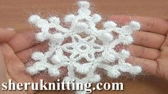 Crochet Snowflake Pattern 24 http://sheruknitting.com/videos-about-knitting/crochet-elements-and-projects/item/842-srochet-snowflake-pattern-tutorial-24.html In this crochet snowflake video pattern you will learn how to crochet snowflake with six rays.