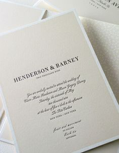 Love the classic feel and the elegant look of this invite. Letterpress wedding invitation by Elum.