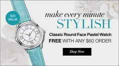 Avon's Classic Round Face Pastel Watch FREE with any $60 order. Visit www.youravon.com/mhamilton39. Register your email with me and get 10% off your next purchase plus other great offer's. Thanks and Happy Shopping!