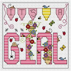 It's a Girl Card Kit Cross stitch card kit by Fat Cat Cross Stitch. Perfect to stitch to welcome a new baby.Small design so may be suitable for beginners depending on their ability. Contents: 14 count white aida fabric, stranded cottons, chart, needle, aperture card and envelope and full instructions. Approx size of design: 8.7cm x 7.9cm