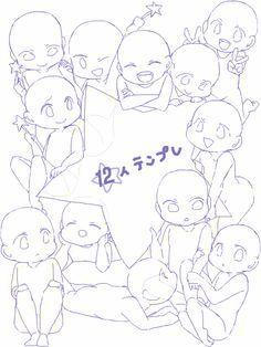 (Chibi) 12 people gathered together Drawing Base, Manga Drawing, Drawing Sketches, Art Drawings, Drawing Tips, Chibi Drawing, Smile Drawing, Chibi Sketch, Drawing Ideas