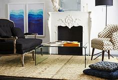 Pied-à-Terre: Furniture & Decor with a Left Bank Look.  love the styling and furniture choices of this room