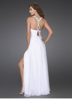 A-Line Princess Scoop Neck Floor-Length Chiffon Prom Dress With Ruffle Beading  Split Front 4f957d091062