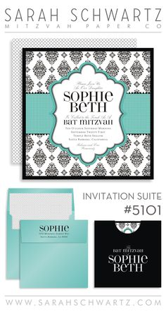 tiffany blue bat mitzvah invitation suite with black and white polka