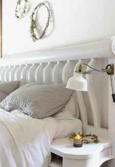 Ideal Home: Sara Tasker Painted Floorboards, White Houses, White Paints, White Walls, White Ceramics, Ideal Home, Duvet, Bed Pillows, Pillow Cases