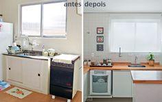 cozinha luminosa antes e depois