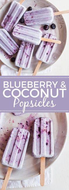 Coconut Blueberry Smash Pops #vegan #paleo healthy recipe ideas #homemaderecipes