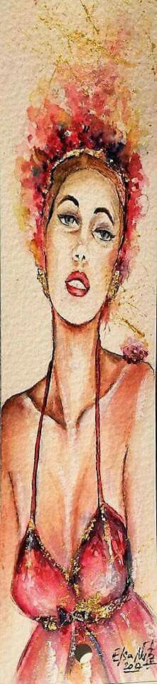 Watercolor girl illustration fashion.  Elsa Nutz