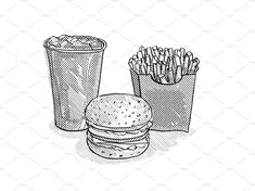 Hamburger, small fries and soft drink Cartoon Retro Drawing by patrimonio on Retro cartoon style drawing of a hamburger or cheeseburger burger, small fries and soft drink in fountain cup on isolated white background done in black and white drink Burger Drawing, Burger Cartoon, Retro Illustrations, Retro Cartoons, Soft Drink, Black And White Illustration, Cartoon Styles, Retro Fashion, Fountain