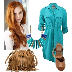 Easy turquoise by stefania-fornoni on Polyvore featuring polyvore, moda, style, Haute Hippie, Mulberry, dress, sandals, jewelry, redhead and Siummer