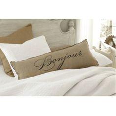 Bonjour Bonne Nuit Burlap Pillow 36 x 14 inch - Ballard Designs Burlap Pillows, Bed Pillows, Cushions, Burlap Baby, Sewing Pillows, White Pillows, Decorative Pillows, Ballard Designs, Pillow Talk