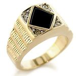 C02215 Wholesale - Men's Gold Plated Black Onyx Ring