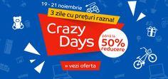 eMAG Crazy Days - prețurile o iau razna! . La eMAG a început Crazy Days, evenimentul în cadrul căruia prețurile o iau razna îți aduce nenumărate promoții pe ultima sută de metri a luni... https://www.gadget-review.ro/emag-crazy-days/