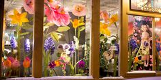 Giant Paper Flower Window Display at The Perfect Petal. Giant Paper Flowers, Diy Flowers, Flower Decorations, Fabric Flowers, Florist Window Display, Fairy Room, Flower Window, Tissue Paper Flowers, Backdrops For Parties