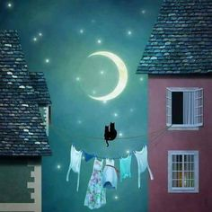 (no text) Black Cat Art, Moon Illustration, Art Pictures, Photos, Good Night Moon, Beautiful Moon, Moon Art, Stars And Moon, Cartoon Drawings