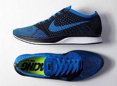 "Nike Flyknit Racer ""Photo Blue"" Size 9.5 Price $150 http://store.nike.com/us/en_us/pd/flyknit-racer-unisex-running-shoe/pid-1474000/pgid-646501"