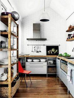Lovely Bohemian Kitchen Decor for Cozy Kitchen Inspiration - home - Cozy Kitchen, Farmhouse Kitchen Decor, Kitchen Ideas, Kitchen Cupboard, Kitchen Shelves, Country Kitchen, Rustic Farmhouse, Bohemian Kitchen Decor, Small Apartment Kitchen