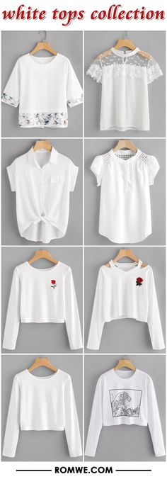 white tops collection 2017 - romwe.com Teenage Girl Outfits, Girls Fashion Clothes, Teen Fashion Outfits, Outfits For Teens, Girl Fashion, Womens Fashion, Cute Casual Outfits, Casual Dresses, Latest Street Fashion