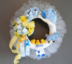 Baby Boy Blue Nursery Shower Wreath by HungUpOnWreaths on Etsy, $89.00