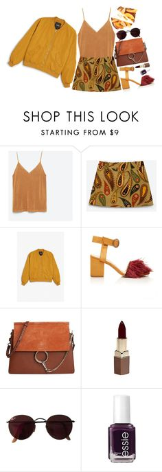 """suede shades"" by neurotic-mind ❤ liked on Polyvore featuring Zara, Monki, Maison Père, Chloé, Fashion Fair, Ray-Ban, Essie and Kale"