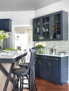 10 Remodeling Projects to Do Before the Holidays : Decorating : HGTV-buffet area in dining room across from table.  hang open shelves where mirror is right now cabinets below for platters