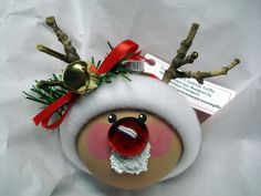 Reindeer Ornament Christmas Tree Bulb Hand by TownsendCustomGifts