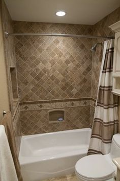 Dynasty, Cherry, Nutmeg, Onyx - traditional - bathroom tile - los angeles - Kitchens Etc. of Ventura County Tile with curtain no doors