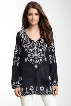 Long Sleeve Embroidered Split Neck Tunic