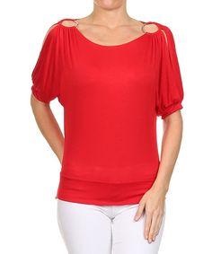 Look at this #zulilyfind! Red Embellished Cutout Top - Women #zulilyfinds