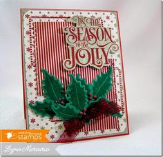 A fun and festive Christmas card using 'Tis the Season ( http://www.waltzingmousestamps.com/products/tis-the-season )and Festive Foliage (http://www.waltzingmousestamps.com/products/festive-foliage] as well as the new Picot Panel Die Set (http://www.waltzingmousestamps.com/products/picot-panel-die-set) and the Holly Sprig Die Set (http://www.waltzingmousestamps.com/products/holly-sprig-die-set)