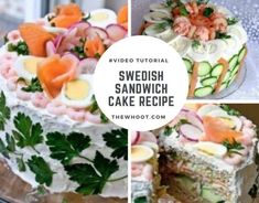 This Swedish Sandwich Cake Recipe is a total show stopper and you are going to love showing this off to your family and friends. Watch the video now. Sandwich Cake, Tea Sandwiches, Sandwich Recipes, Easy Cake Recipes, Great Recipes, Favorite Recipes, Tasty, Yummy Food, Cooking For Two